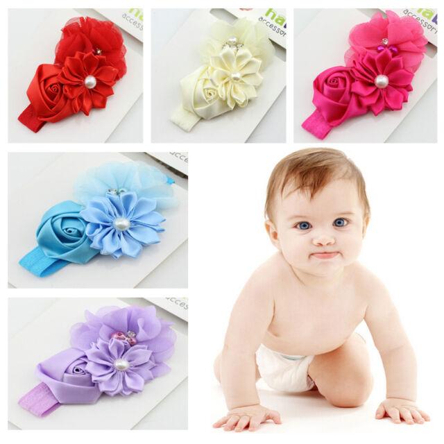 Newborn Baby Girl Infant Lace Flower Pearl Headband Elastic Hair Band Headwear