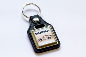 Toyota-A70-Supra-Keyring-Leatherette-amp-Chrome-Retro-Classic-Car-Auto-Keytag