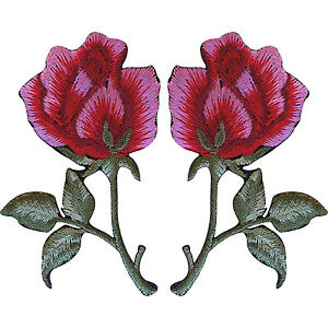 Pair-of-Red-Pink-Roses-Patches-Iron-Sew-On-Embroidered-Rose-Flower-Patch-Badge