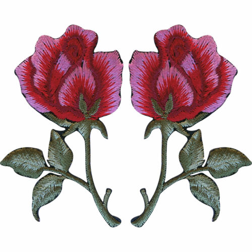 Pair of Red Pink Roses Patches Iron Sew On Embroidered Rose Flower Patch Badge