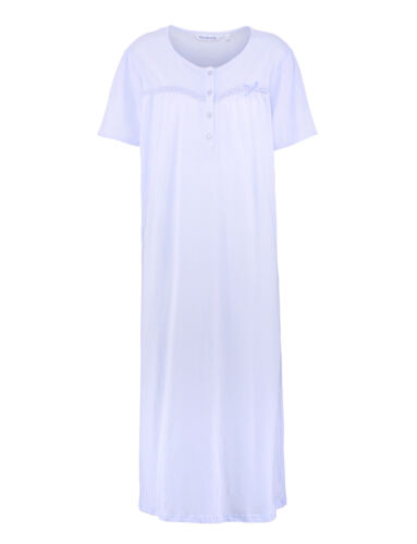 Nightdress Slenderella 100/% Cotton Womens Lace Ribbon Trim Short Sleeved Nightie