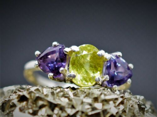 4.32 Ct REAL GREEN AND YELLOW SPHENE 2 LAB ALEXANDRITE 2.04CT 925 Silver WOMEN/'S