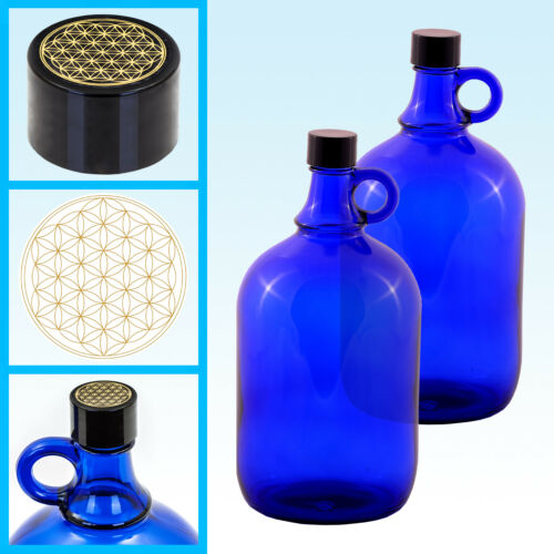 2 x Glasballonflasche Gallone 2 Liter Glasballon Flasche Blume des Lebens
