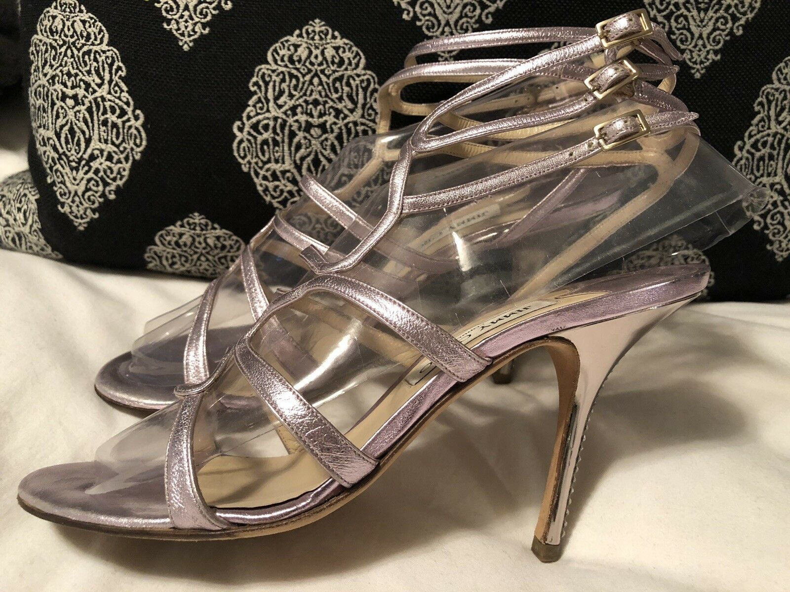 JIMMY CHOO Crystal Lavendar lila Metallic Strappy Sandals Heels 40 10 Bridal