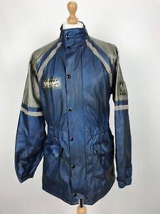 Vintage-Belstaff-PVC-Veste-moto-grande-taille-L-bleu