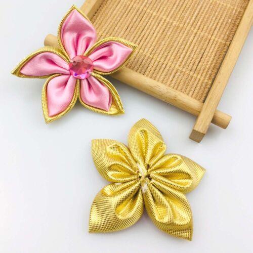 DIY 100 PCS Satin Ribbon Flower with Crystal Bead Appliques//craft//Wedding Decor