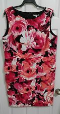 Dressbarn Woman Plus 22W Pink/Coral Floral Tiered Sleeveless Dress NWOT