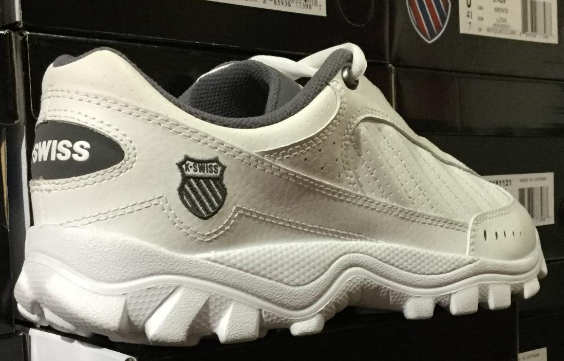 K-swiss st429 uomini bianchi bassi / grey camminando casual casual casual scarpe 03181121 sz8-10 l 095c0e