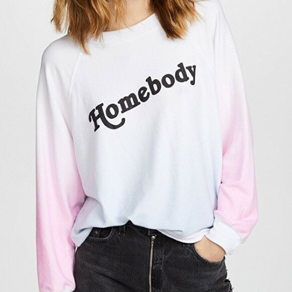 NWT XS Wildfox Homebody Sweatshirt Sommers Sweater Multicolor White bluee Pink