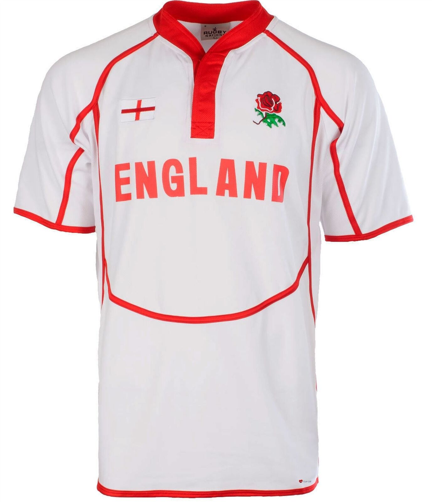 Gents Cooldry Style Rugby Shirt In England Colours Size 3X-Large