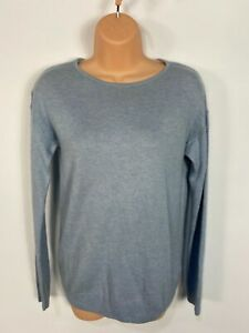 WOMENS FAT FACE UK 12 CLAY BLUE SOFT FINE KNIT CASUAL JUMPER SWEATER PULL OVER