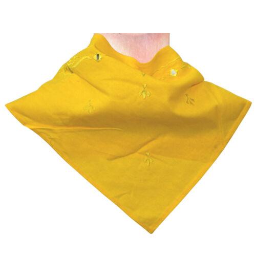 Panno triangolare giallo 40 x 40 x 60cm ricamati FOULARD TRIANGOLARE FAZZOLETTO ACCESSORIO
