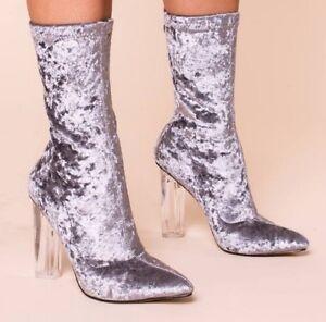 Image is loading Lamoda-Ladies-Crushed-Velvet-Perspex-Heeled-Boots-Grey-