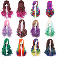 70cm Womens Multi-color Long Rainbow Zipper Layer Natural Wave Hair Cosplay Wigs