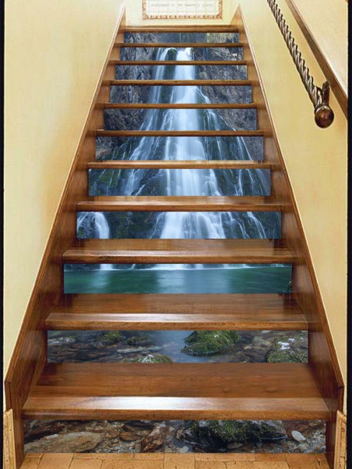 3D Wasserfall 3941 Stair Risers Dekoration Fototapete Vinyl Aufkleber Tapete DE