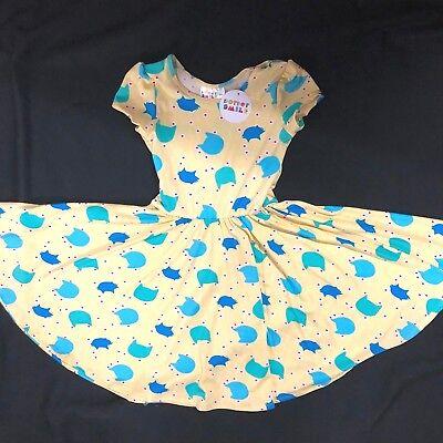 NWT Dot Dot Smile Cup Sleeve Twirl Dress Summer Knit BLUE ORANGE Floral Print