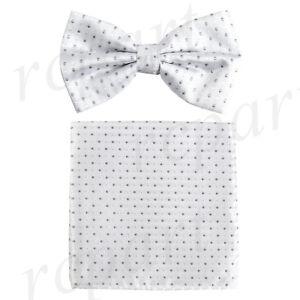 1965e9ab4dbfe New formal Men's Pre-tied Bow Tie & Pocket Square Hankie white gray ...