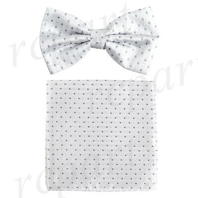 New Men/'s Pre-tied Bow Tie /& Pocket Square Hankie black purple dots formal prom