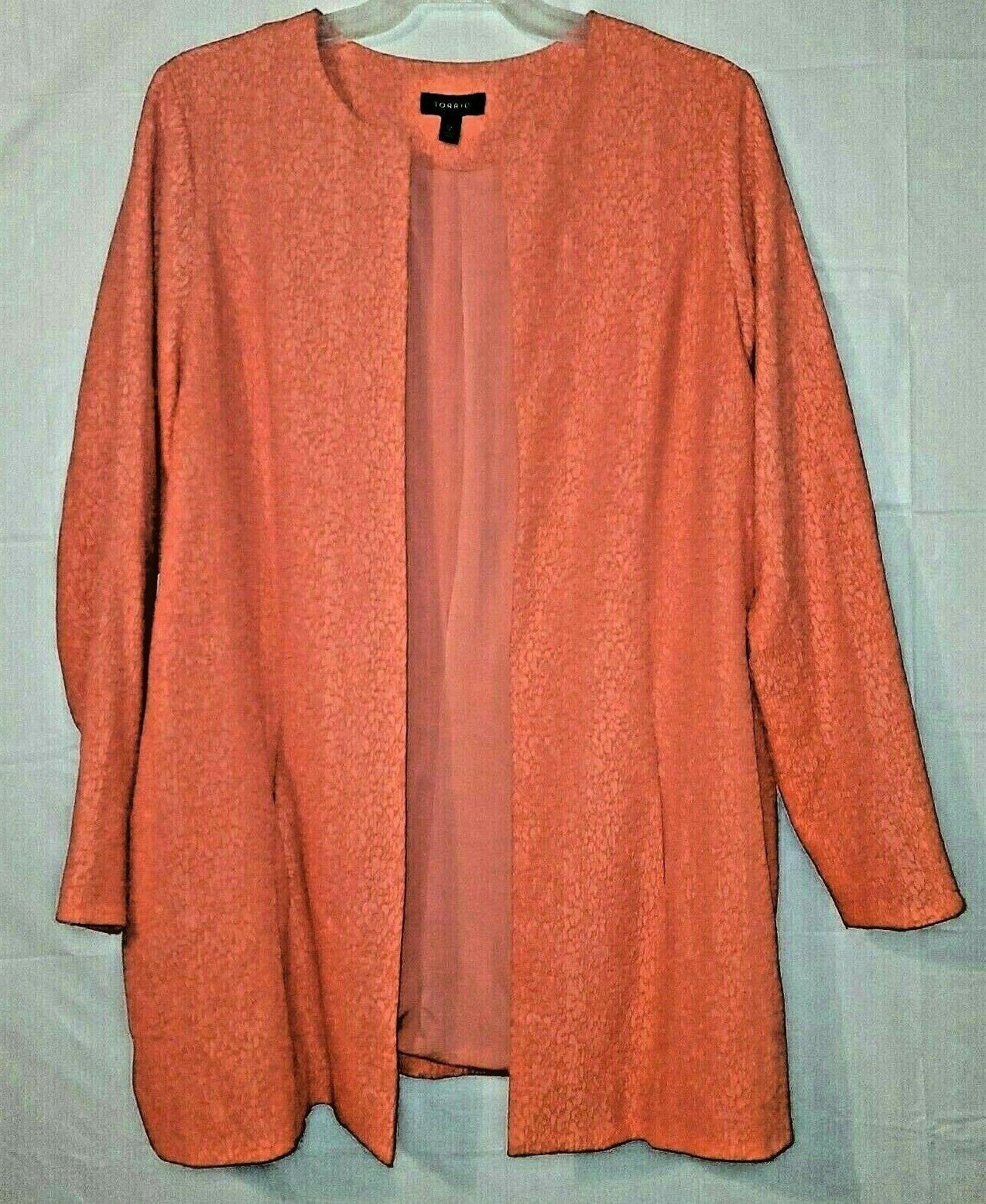 Torrid Size 2 Coral Orange Textured Midi Open Jacket Womens Plus Lined 2X XXL