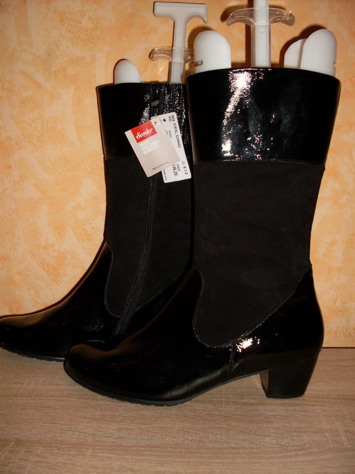 SEMLER Stiefel NEU Gr. 8,5 / 42,5 & H in schwarz Lack & 42,5 Veloursleder 89f499