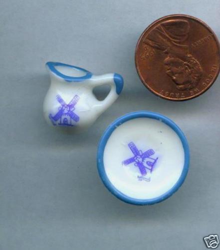 Miniature Dollhouse Pitcher /& Bowl Windmills