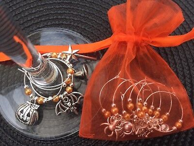 Gothic Table Decoration Party 10 Halloween Wine Glass Charms Spooky
