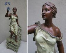 Antique Spelter French Art Noveau Lady Figurine Vintage lamp base PART Rancoulet