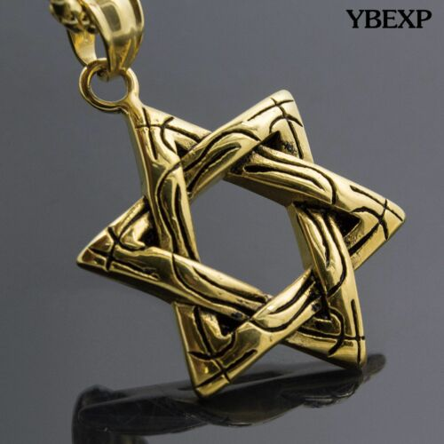 Men/'s Stainless Steel Gold Silver Star Of David Pendant Round Box Necklace Chain