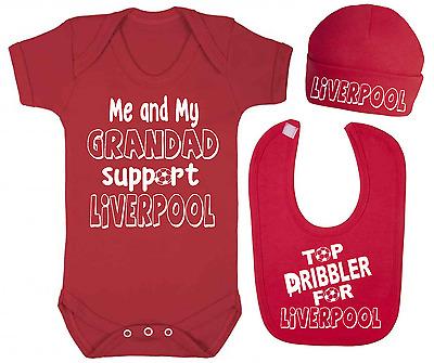 Grandad Support Everton Top Dribbler Baby Vest Hat and Bib Set Football Baby