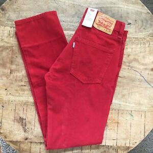 Levi-039-s-511-Corduroy-Pants-Slim-Stretch-Red-045113957-Mens-Size-31x32
