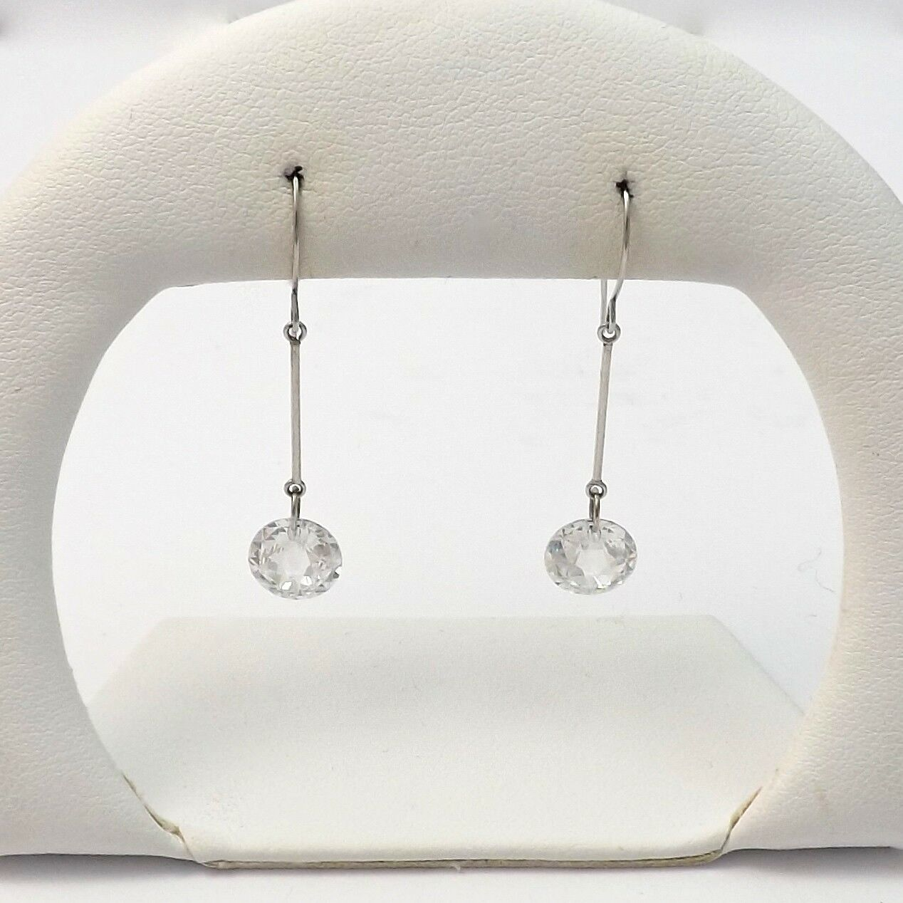 Jacmel Mauritius JCM 14k White gold 5ctw CZ Dangle Fish Hook Earrings