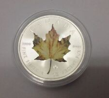 2014 Canadian $ 5 Dollars Yellow Coloured Maple Leaf 1 oz .9999 Silver Coin