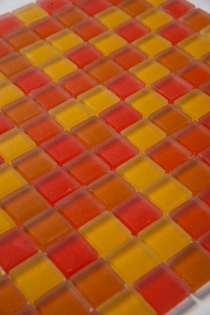 20 Qm Glasmosaik Fliesen Mosaik Klarglas Matt Orange 23 x 23 x 8 mm