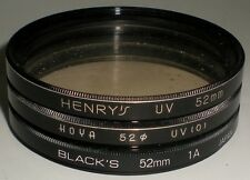 CAMERA PHOTOGRAPHY LENS FILTER 52MM HENRY'S UV HOYA UV (0) BLACK'S 1A LOT