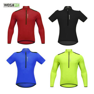 Men-039-s-Cycling-Jersey-Half-ZipperMTB-Road-Bike-Long-Short-Sleeve-Breathable-Tops
