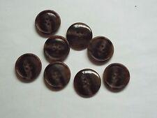 10pc 11mm Dark Brown Mock Horn Bone Shirt Coat Cardigan Knitwear Button 3754