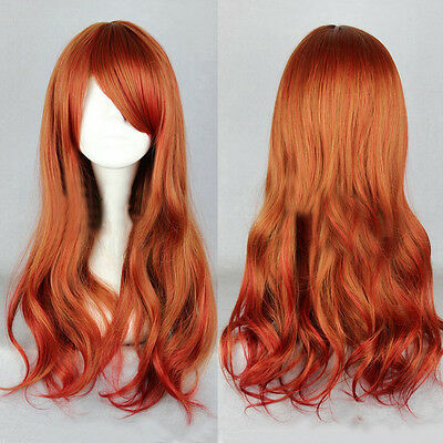 Harajuku Red Gradient Anime Wig Long Wavy Curly Ombre Hair Cosplay Costume Wig