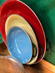 EMO-Celje-EnamelWARE-Cooking-Pans-Yugoslavia-Red-Yellow-Blue-3-Nesting-Set