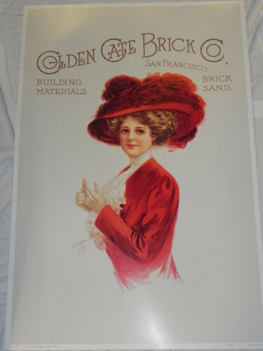 """Large 24/""""x36/"""" Print Poster Golden Gate Brick Co Victorian Woman Red Hat Society"""