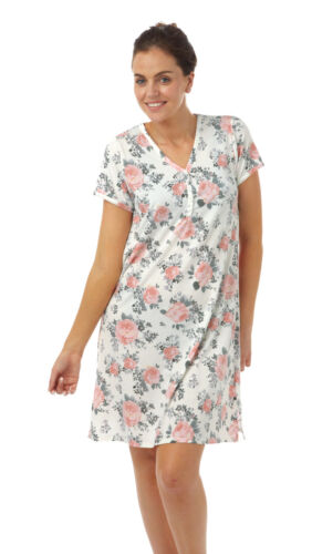 LADIES*V NECK FLORAL POLY//VISCOSE JERSEY NIGHTSHIRT LARGE//SIZE 22//32  IN07486F