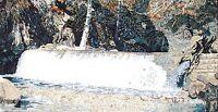"80""x 40"" Beautiful Natural Water Fountain Falls Mosaic Marble Art Tile Stone"