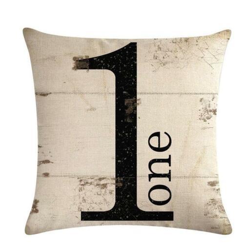 Cushion Cover Pillow Case Home Sofa Decor Number Vintage Decorative  FW