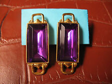 PAOLO GUCCI NEW VINTAGE ART DECO FAUX FACETED GRIPOIX AMETHYST CLIP ON EARRINGS