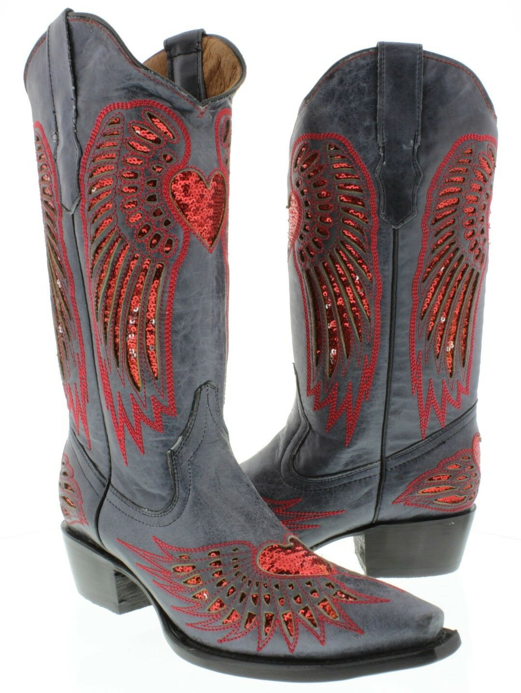 Incrustación de Corazón Azul Azul Azul Vaquero para mujer de cuero rojo de lentejuelas botas de vaquero SNIP Toe 361892