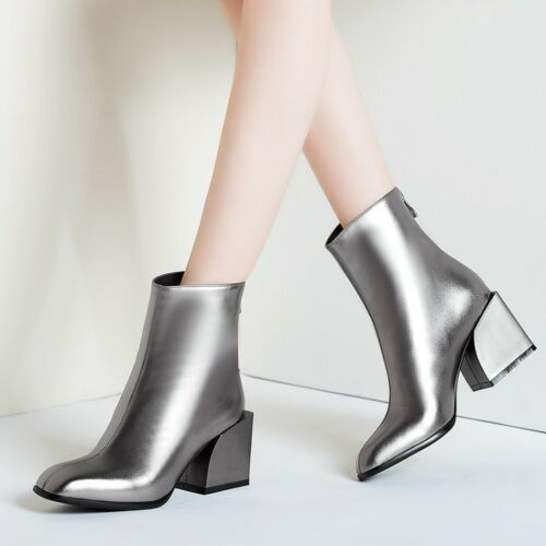 Leather Women Ankle Chelsea Boots Shiny Patent Square Toe Block Heels Zip Shoes