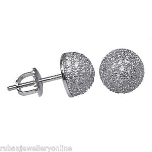 33cad3275 8mm MICRO PAVE SET CUBIC ZIRCONIA HALF BALL STERLING SILVER SCREW ...