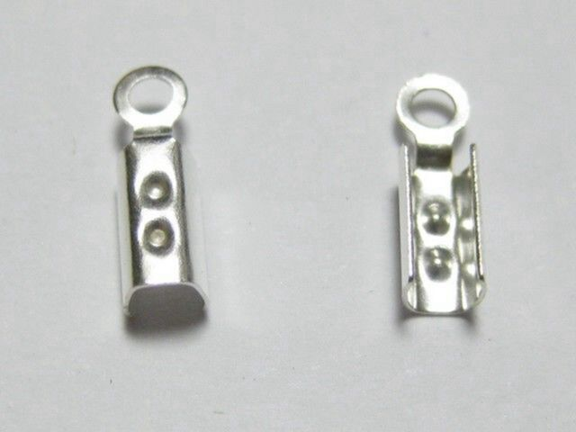 Jewelry Findings for Necklaces Silver Plated Cord Endings Bead Stoppers Crimp Tubes 2mm Crimp Cord Ends Tube Cord Ends Crimp Beads