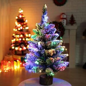 Details About 50cm Christmas Tree Led Artificial Multicolor Lights Home Decor Xmas Fiber Snow
