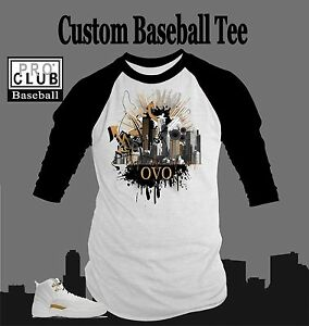 Details about Pro Club Baseball T Shirt to Match AIR JORDAN 12 OVO Shoe White Tee Drake Music