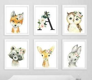 Conjunto de 6 Rosa Floral Woodland Animales Personalizado Monograma Vivero Art 621-A